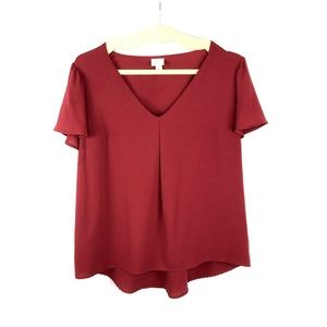 A New Day Burgundy Blouse Top Flare Ruffle Sleeve
